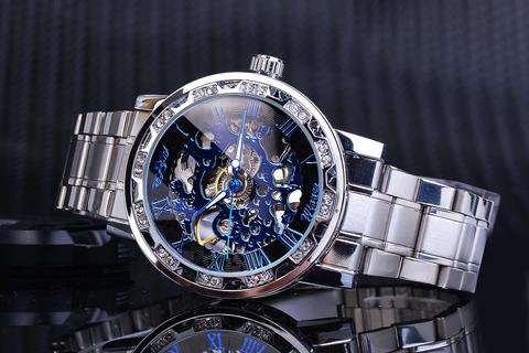 Relógio Luxuri Retrê Winner Masculino, Mostra o Movimento da Engrenagem